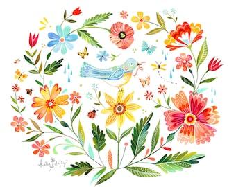 Magic Garden Art Print | Watercolor Wall Art | Horizontal Print | Floral | Katie Daisy | 8x10 | 11x14
