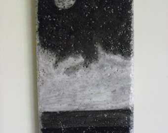 Ink on Stone Moon Over Water with clouds wall hanging