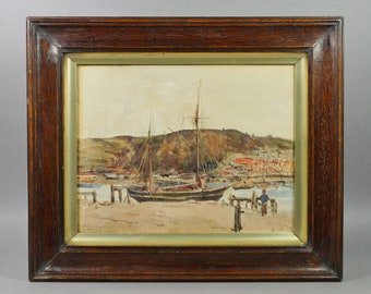 Antique English Watercolor Coastal Landscape Dated 1913 Teignmouth, Devon