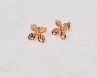 14k pink gold Flower  Stud Earrings ,bridesmaid earrings,flower earrings,wedding earrings,flower earstuds,bridesmaid jewelry