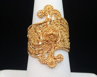 GOLDSHINE 22K Solid Yellow Gold RING Size7.5 (US/Canada) Genuine & Hallmarked 916, Stunningly Intricate and Handcrafted