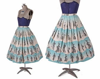 1950s Black White and Blue Silhouette 1800s 19th Century People Walking Poodle Dog Novelty Print Skirt by Miss Pat -XS