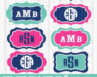 Monogram SVG Files Set of 8 cutting files {SVG/PNG/jpg formats} no letters included. Great for labels or frames for monograms! label svg