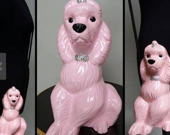 Timmy Woods Signed Handbag- Pink Poodle Purse Shoulder Bag Poodle Clutch/Designer