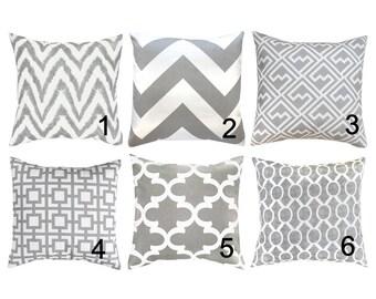 Gray Pillow Covers. Grey Throw Pillows.Grey White Decorative Pillow.Gray Moroccan Pillow.Gray Toss Pillow.Grey Cushion Cover