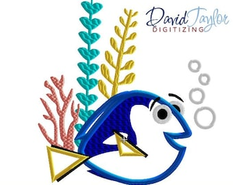 Dory Seaweed - 4x4, 5x7, 6x10 and 8x8 in 9 formats - Applique - Instant Download - David Taylor Digitizing