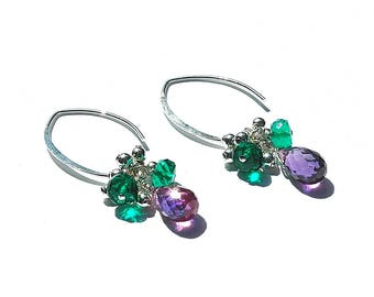 "Sterling Silver ""Violet"" Dangle Earrings / Quartz Teardrops / Purple / Green / Wire Wrapped / Gifts for Her / Mothers Day Gift / OOAK"