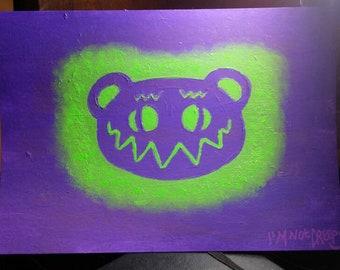 Original stencil art painting - ooak creepy bear silhouette - crazy I'M NOT CREEPY weird art lowbrow outsider art neon uv monochrome horror