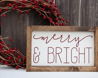 Merry and Bright sign, Merry and bright wood sign, Christmas wood sign, Christmas sign, Christmas decor, Holiday decor, holiday wood sign