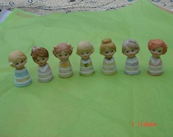 Vintage Enesco Porcelain Monday - Sunday Girls Thimbles - Sweet