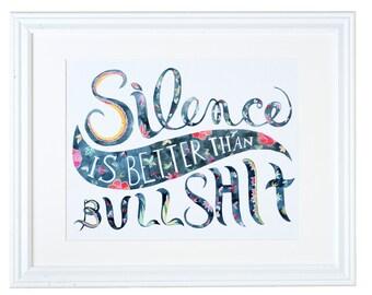 Le silence est mieux que les conneries, peinture, aquarelle, monta Lee Patel