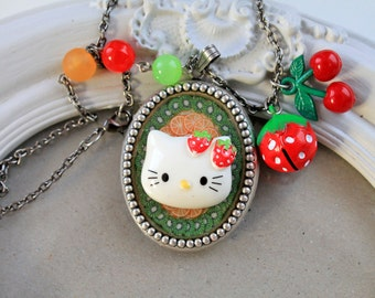 40% off Kawaii strawberry kitty Fruit Necklace Lolita cherry fruit ooak