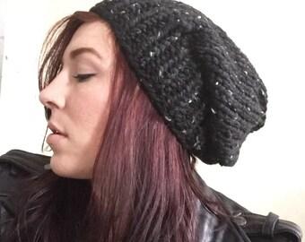 Chunky Knit Slouch Hat Black Fleck