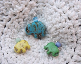 Carved Dyed Howlite Elephant Stitch Markers