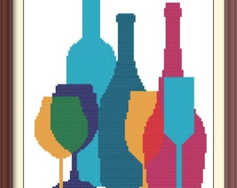 Bottles and Glasses 2 Modern Abstract Cross Stitch Pattern PDF Chart Instant Download Silhouette Pattern