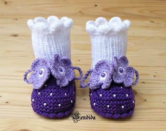 Baby Girl Booties, Crochet Baby Booties, White Baby Boots, Purple Baby Booties, Baby Girl Shoes, Knitted Baby Shoes, Baby Girl Boots.