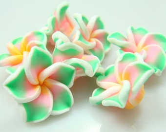 Polymer Clay Flowers-Green & Pink-20mm-5 PCS