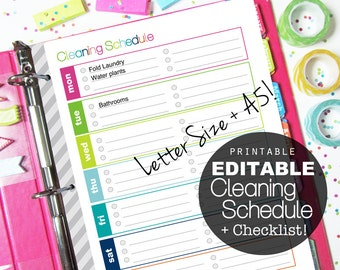EDITABLE Weekly Cleaning Schedule Printable Checklist, Letter + A5 - INSTANT Download - Cleaning, Homekeeping