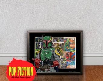 Boba Fett Original Artwork Canvas & Prints. Comics, Book, Collectible. Digital Mix-Media Art. Pop Culture.