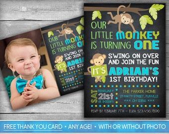 Monkey birthday invitation monkey invitation monkey themed monkey invitation monkey invite first birthday invitation monkey birthday invite boy chalkboard filmwisefo