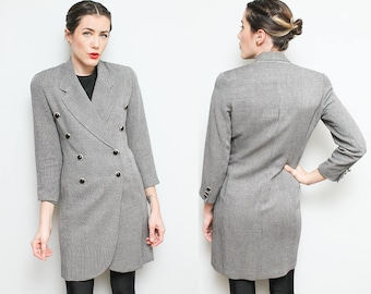 80s Long Gray Hourglass Blazer // 1980s Tailored Double Breasted Collared Jacket Womens Size Small