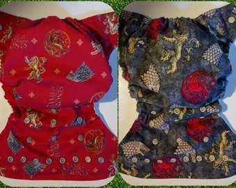 SassyCloth one size pocket diaper with game of thrones cotton print. Ready to ship.