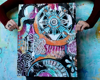 How to embrace uncertainty - original mixed media painting funky doodle art acrylic painting