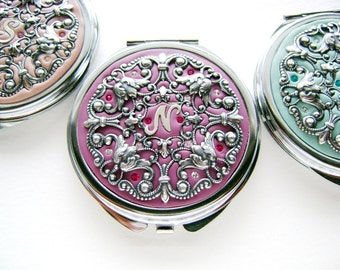 Free Gift Wrap-SEVEN Set of 7-Personalized Bridesmaids Gifts Wedding Party- Set of 7 Compact Mirrors