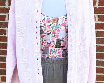 Strawberry Milk Pastel Pink Hand Printed Jumper with Chenille Wool Embellishment - Fairy Kei Sweater - Pastel Fashion - Let's Go Fairily 1JOy5OR