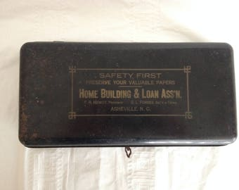 Antique Metal Lock Box Home Building & Loan Ass'n Asheville NC F. R. Hewitt, President