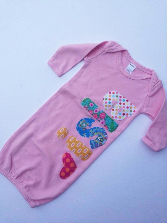 Personalized infant gown new baby gift coming home outfit negle Gallery