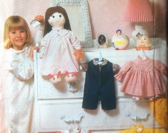 """Vintage Sewing Pattern Clothes for 19"""" Stuffed Doll Raincoat Hat Boots Overalls \blouse Pinafore Dresses 1980's"""