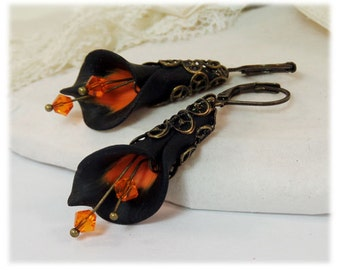 Black Orange Calla Lily Earrings - Orange Black Jewelry