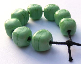Green handmade lampwork beads - set of 8 curvy cube lampwork beads