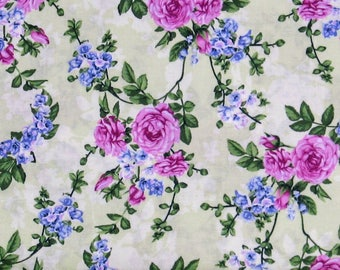 Pink and Blue Floral on a Green Background 100% Cotton Quilt Blender Fabric, Beverly Park Collection from RJR Fabrics, RJR2914-003