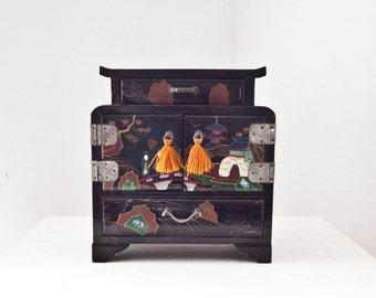 Vintage Lacquer Jewelry Box, Asian Style