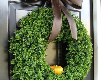 Fall Boxwood Wreath, Pumpkin Fall Wreath, Outdoor Door Hanging, Fall Wreaths, Fall Decor, Boxwood with Burlap Bow