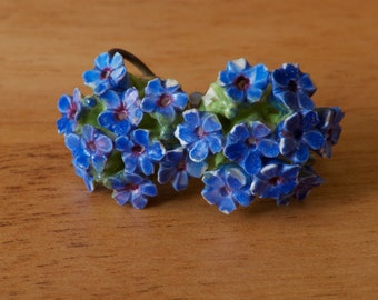 Vintage Ceramic Blue Flower Screw Back Earrings Made in England