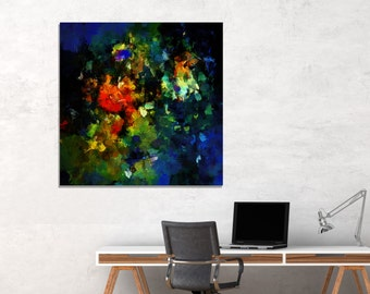 Dark Abstract Painting, Abstract Wall Art, Abstract Prints for Wall Decor, Contemporary Abstract Art, Canvas Print of Abstract Painting,