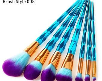 7 Piece Metallic Teal Makeup Eyeshadow Brushes Style 005
