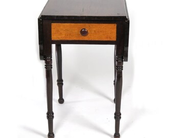 Antique Side Table Work Stand Small Drop Leaf Curly Maple 19th C One Drawer