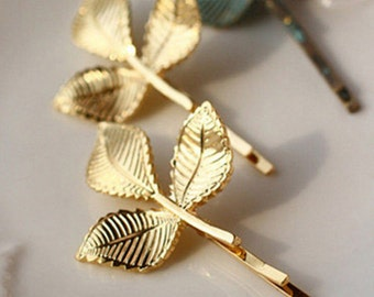 Golden Leaf Hair Pieces for Bridal, Prom, Special Occasions, Birthday Parties etc