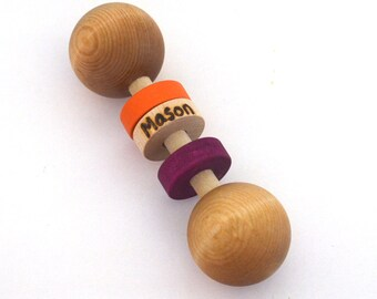 Personalized Wood Baby Rattle - Classic Baby Toy - Choose your own colors - handmade by hcwoodcraft