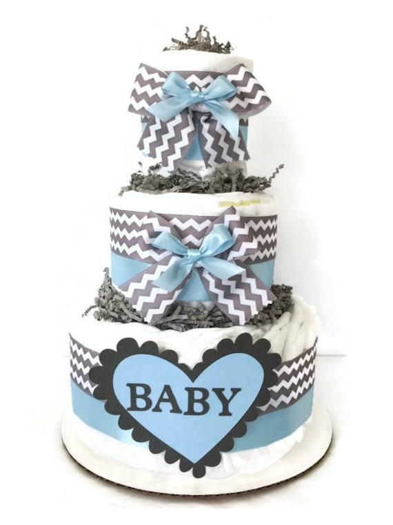 Chevron Baby Shower Cake Blue White Grey