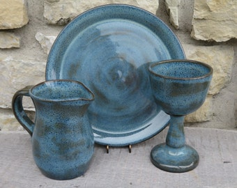 Communion plate, chalice, and pitcher 3 pc set. Handmade Pottery
