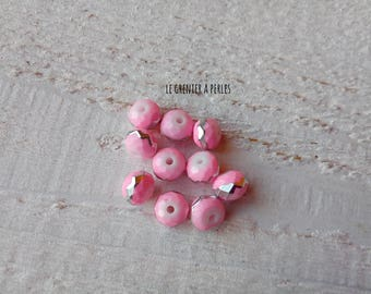 ABACUS 8 mm Rose border silver beads X 10