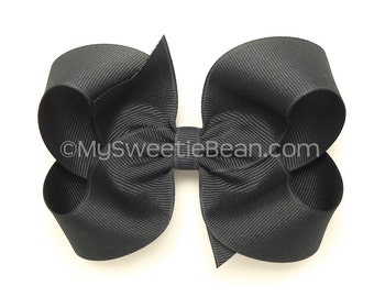 "Dark Gray Boutique Bow, 4 inch Hair Bow, Flannel Gray Hair Bow, 4"" Basic Bow, Gunmetal, Hematite, Charcoal Grey, Hair Bow, Womens Bow"