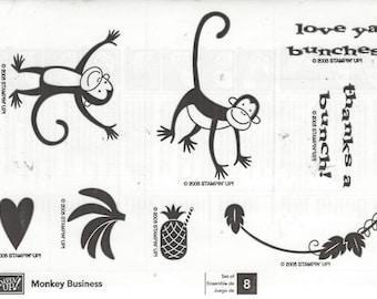 Monkey Business Retired 2005 Stampin Up! Stamp Set Unmounted Stamps Monkeys, Bananas, Thanks a Bunch Great for Cards, Scrapbooks