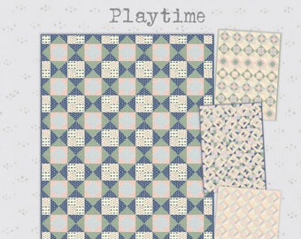 Playtime - Quilt Pattern - A lovely design using Janet Clare's 'Freya and Friends' fabrics, with instructions for 4 striking colourways