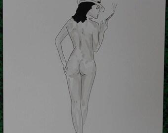 "drawing of nude female erotic ""Dallas"""